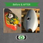 Before and after images of a blasted motorbike fuel tank.