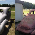 Before & after photos of rust and paint removed from a vehicle surface