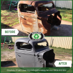 Before and After photos of surface rust removal on a vehicle