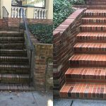 Before and After images of surface buildup removal on brick steps