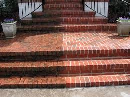 An image showing brick steps before and after blasting