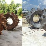 Before and After images of steel loader wheels on an industrial site..