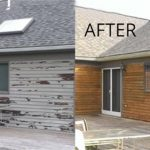 Before & After Images of paint blasted from timber boards of a house