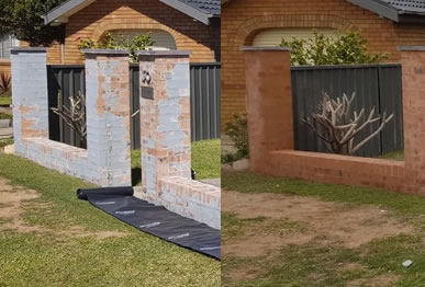 Before and after image of paint removed from a brick fence