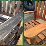 Before and after images of surface build up on a outdoor chair.