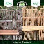 Before and After photos of blasted outdoor furniture.